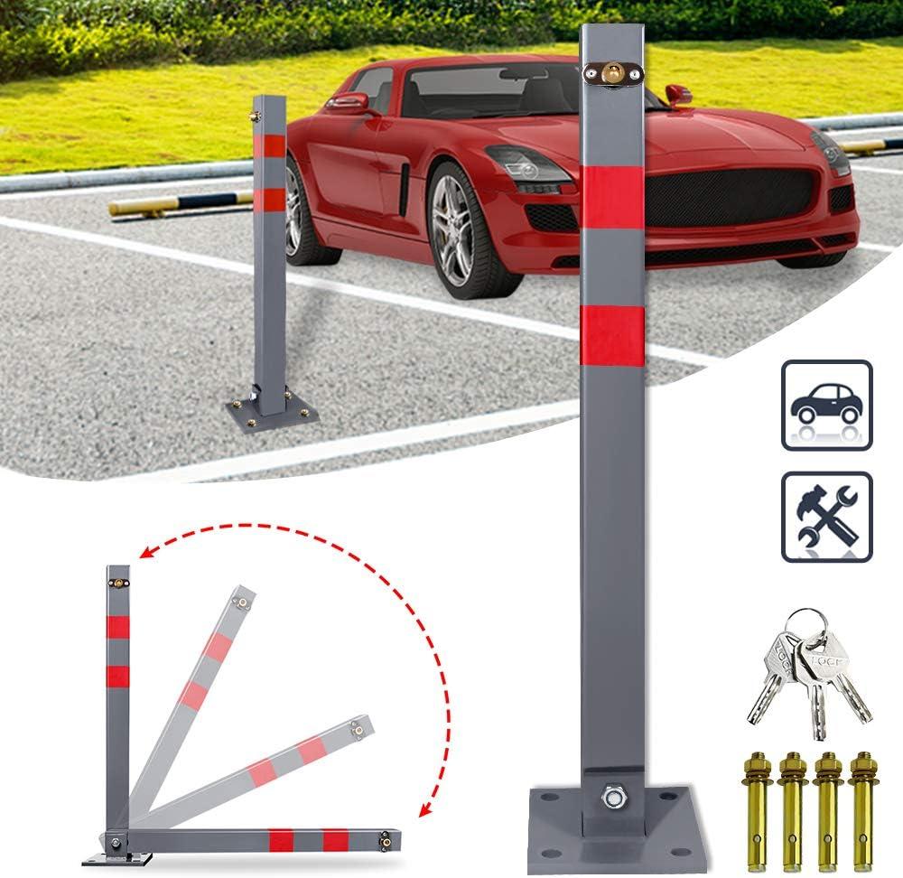 Robust und Stabil Absperrpfosten Sperrpfosten UISEBRT Parkplatzsperre Parkpfosten Klappbar mit 3 Schl/üssel
