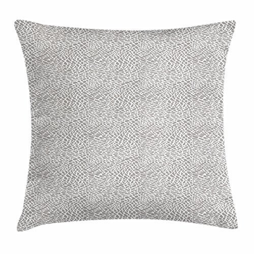 FunnyLife Grey Throw Pillow Cushion Cover, Abstract Animal Skin Pattern African Safari Animal Camouflage Design Jungle Fauna, Decorative Square Accent Pillow Case Grey White