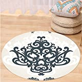 VROSELV Custom carpetArabesque Middle Eastern Islamic Motif with Arabic Effects Filigree Swirled Artsy Print for Bedroom Living Room Dorm Pearl Grey Round 79 inches