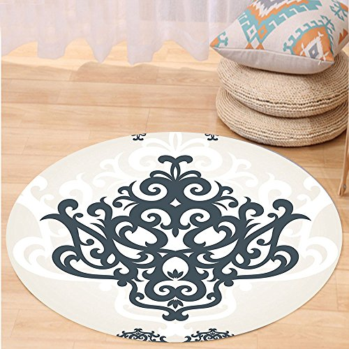 VROSELV Custom carpetArabesque Middle Eastern Islamic Motif with Arabic Effects Filigree Swirled Artsy Print for Bedroom Living Room Dorm Pearl Grey Round 79 inches by VROSELV