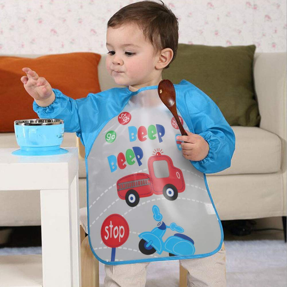 Vicloon Bibs with Sleeves,4 Pcs Waterproof Long Sleeve Bib Unisex Feeding Bibs Apron Front Pocket for Infant Toddler 6 Months to 3 Years Old