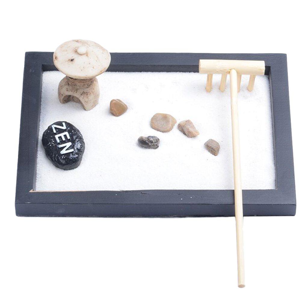 Jili Online ZEN Garden Set: Tray, Sand, Pebbles, Rake Home Room Ornament Collectables Pick - as picture show, 21.5171cm