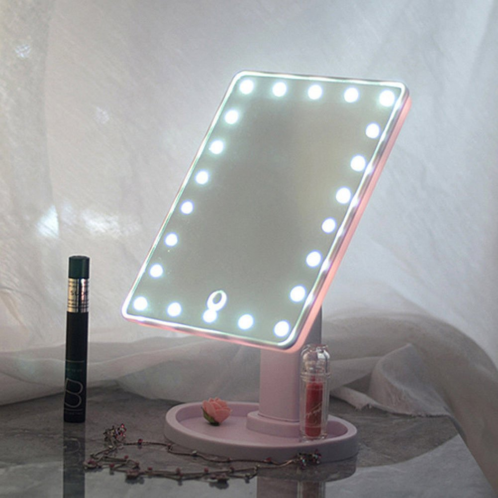 22 LED Touch Screen Makeup Mirror Tabletop Cosmetic Vanity light up Mirror UK (Pink) MAS