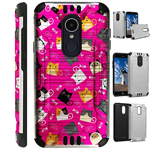 Compatible LG Aristo 3 (2019)   K9s (2019)   Fortune 3   Tribute Empire   Risio 4 Case Brushed Metal Texture Hybrid TPU Silver Guard Phone Cover (Pink Fishbone Cat) - Fishbone Cover