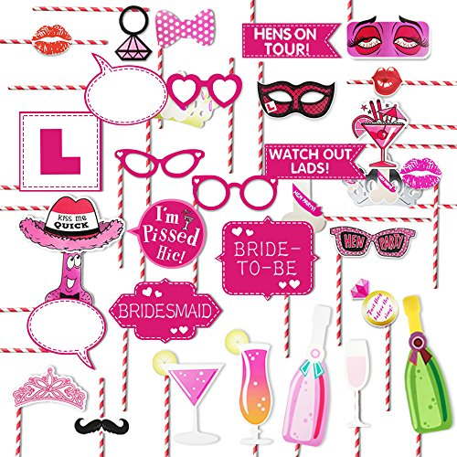 bachelorette party paper straws photo booth props kit girls night out games hen party supplies decoration