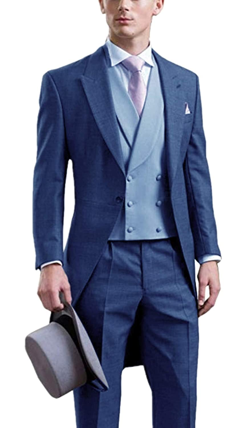Everbeauty Mens Fashion Slim Fit Wedding Tailcoat Suits Three-Pieces Prom Tux Blazer Set 2019 New EXZ010