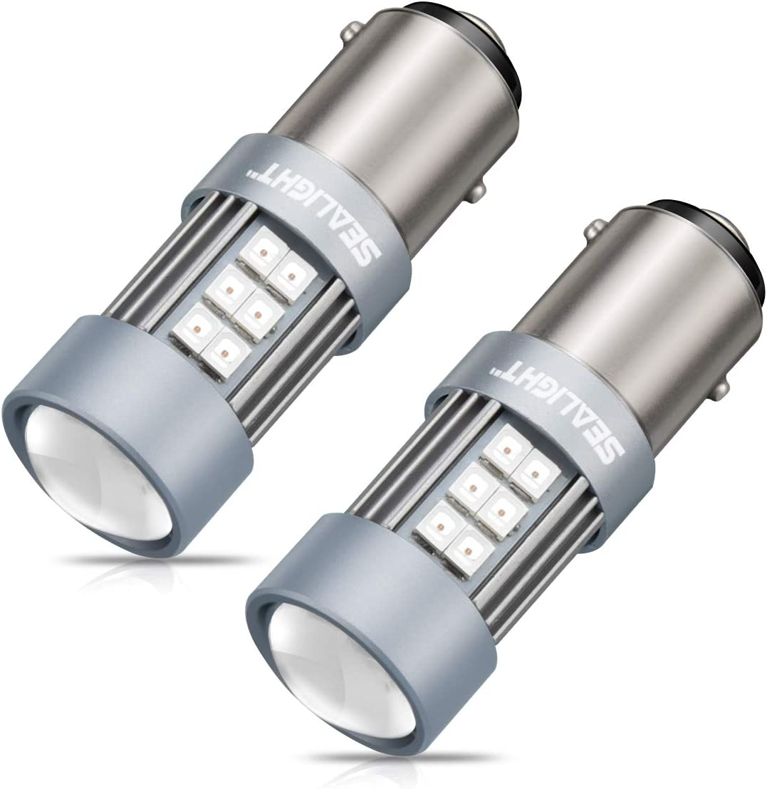 SEALIGHT 1157 LED Bulb Red 2057 2357 7528 BAY15D Super Bright Replacement Bulb for Tail Lights Brake Lights, Pack of 2