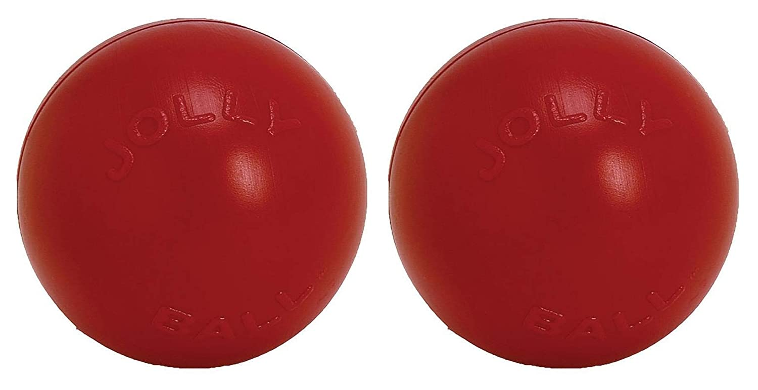 Jolly Pets 2 Pack of Push-N-Play Ball Dog Toys, Red, 4.5-Inch