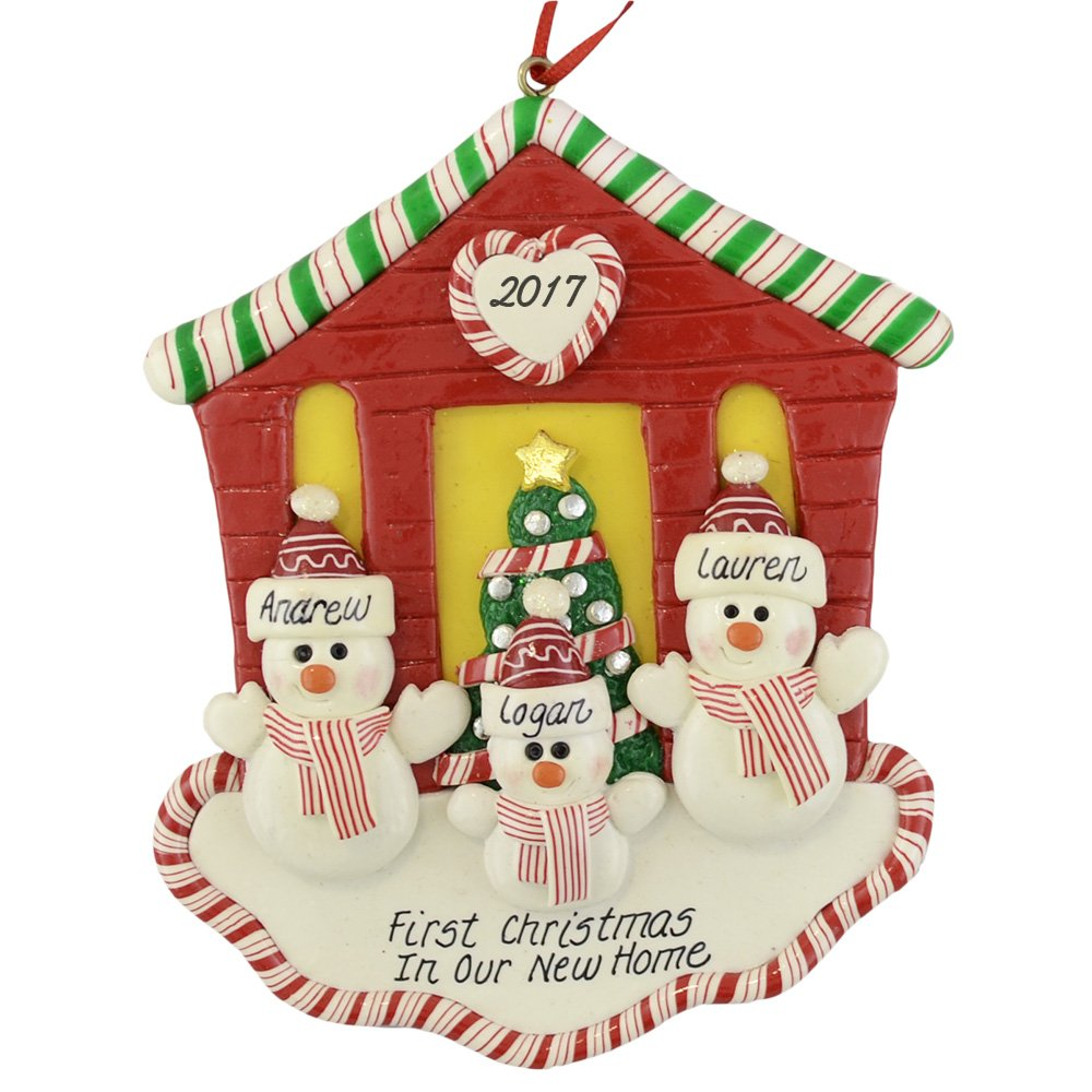 "First Christmas in Our New House for Family of 3 Ornament by Calliope Designs - Handcrafted - 4.5"" tall - Free Personalization with Names, Year, a Phrase - A Keepsake for New Homeowners"