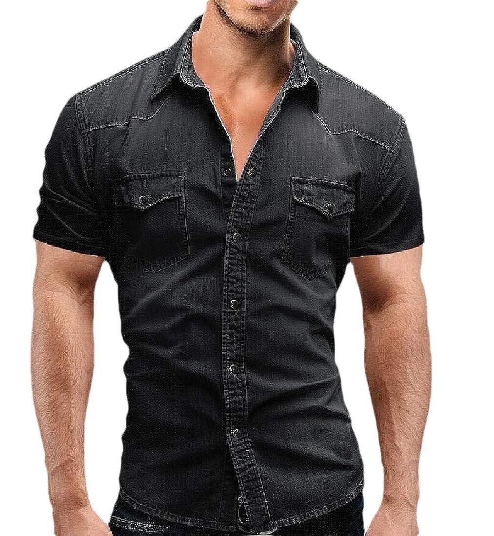 omniscient Men Basic Short Sleeve Rugged Wear Chambray Cotton Denim Work Shirts