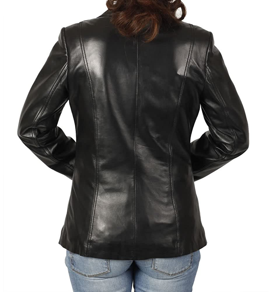 af87e404db7e06 Simons Leather Women's Hip Length Shaped Leather Blazer at Amazon Women's  Clothing store:
