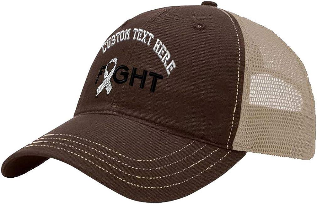 Custom Trucker Hat Richardson Cancer White Ribbon Fight Embroidery Design Cotton
