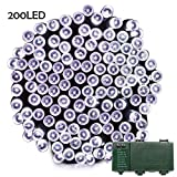 automatic battery led lights - Lalapao Battery Operated 200 LED String Lights with Automatic Timer Fairy Christmas Lighting Decor for Outdoor Indoor Xmas Tree Garden Patio Lawn Outside Home Party Landscape Decorative (White)