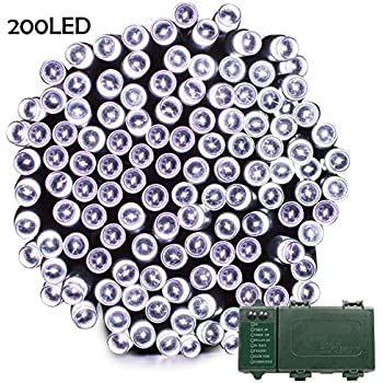 Lalapao Battery Operated 200 LED String Lights with Automatic Timer Fairy Christmas Lighting Decor for Outdoor Indoor Xmas Tree Garden Patio Lawn Outside Home Party Landscape Decorative (White)