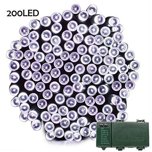 Lalapao Battery Operated 200 LED String Lights with Automatic Timer 5 light Modes, Fairy Christmas Lighting Decor for Outdoor Indoor Garden Patio Lawn Outside Home Party Decorative (White)