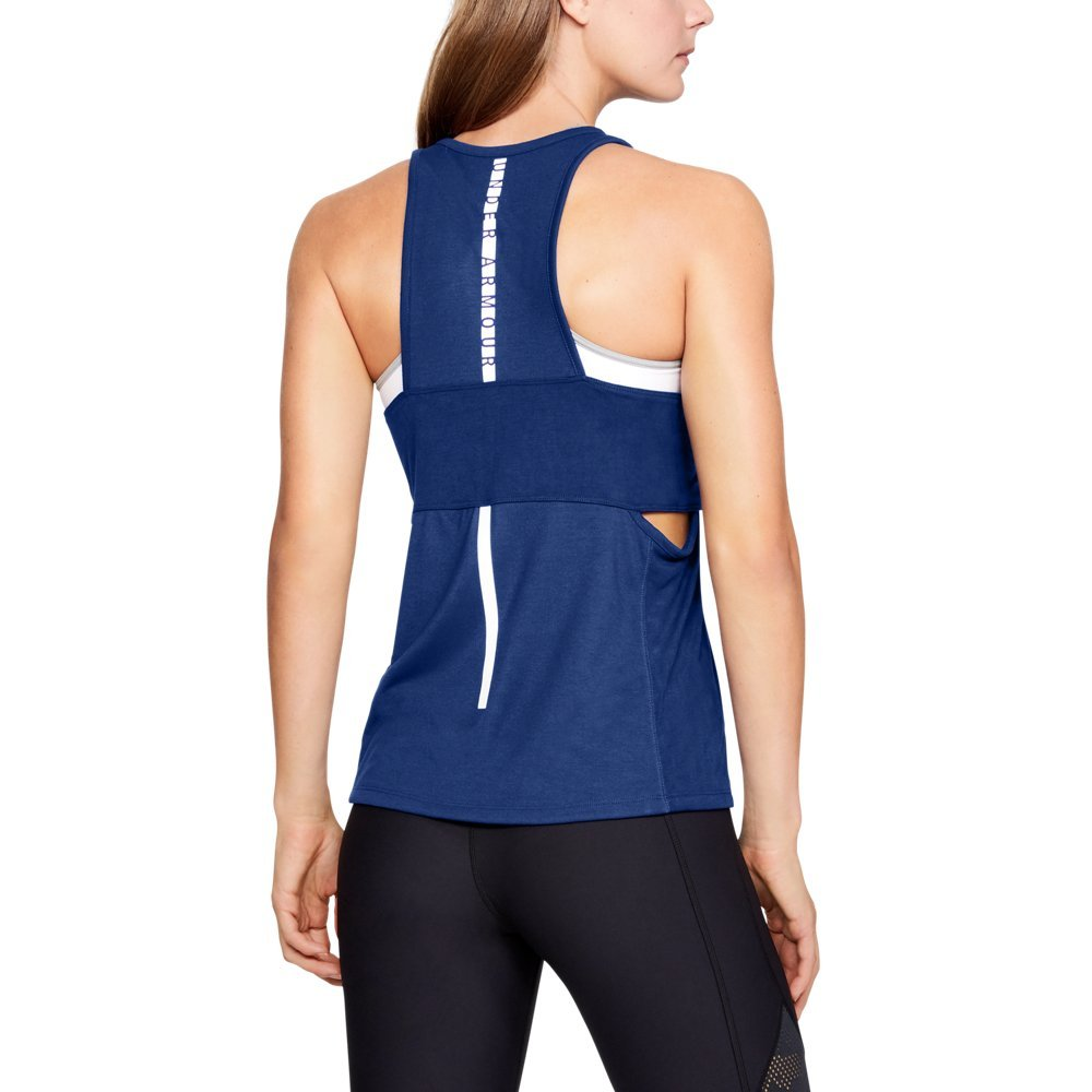 Under Armour Women's Essential Banded Tk Graphic Top, Formation Blue (574)/Tonal, Large