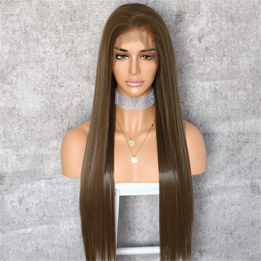 Sapphirewigs Dark Brown Color Natural Straight Hairline Kanekalon Futura Hair No-Tangle Natural Hairline 6''×13''Big Lace Freedom Part Daily Makeup Women Wedding Hair Synthetic Lace Front Wigs