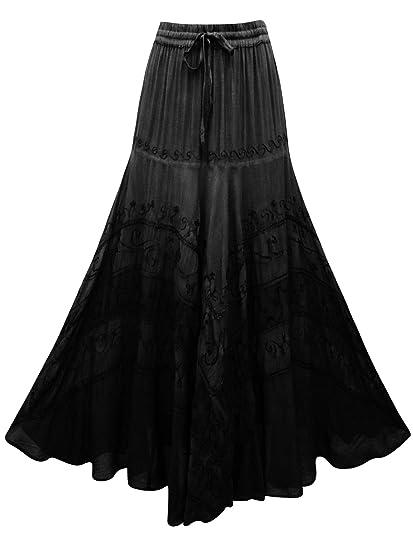AEON Falda Larga Negra Bordada S M L XL 34 36 38 40 42 44 Grande ...