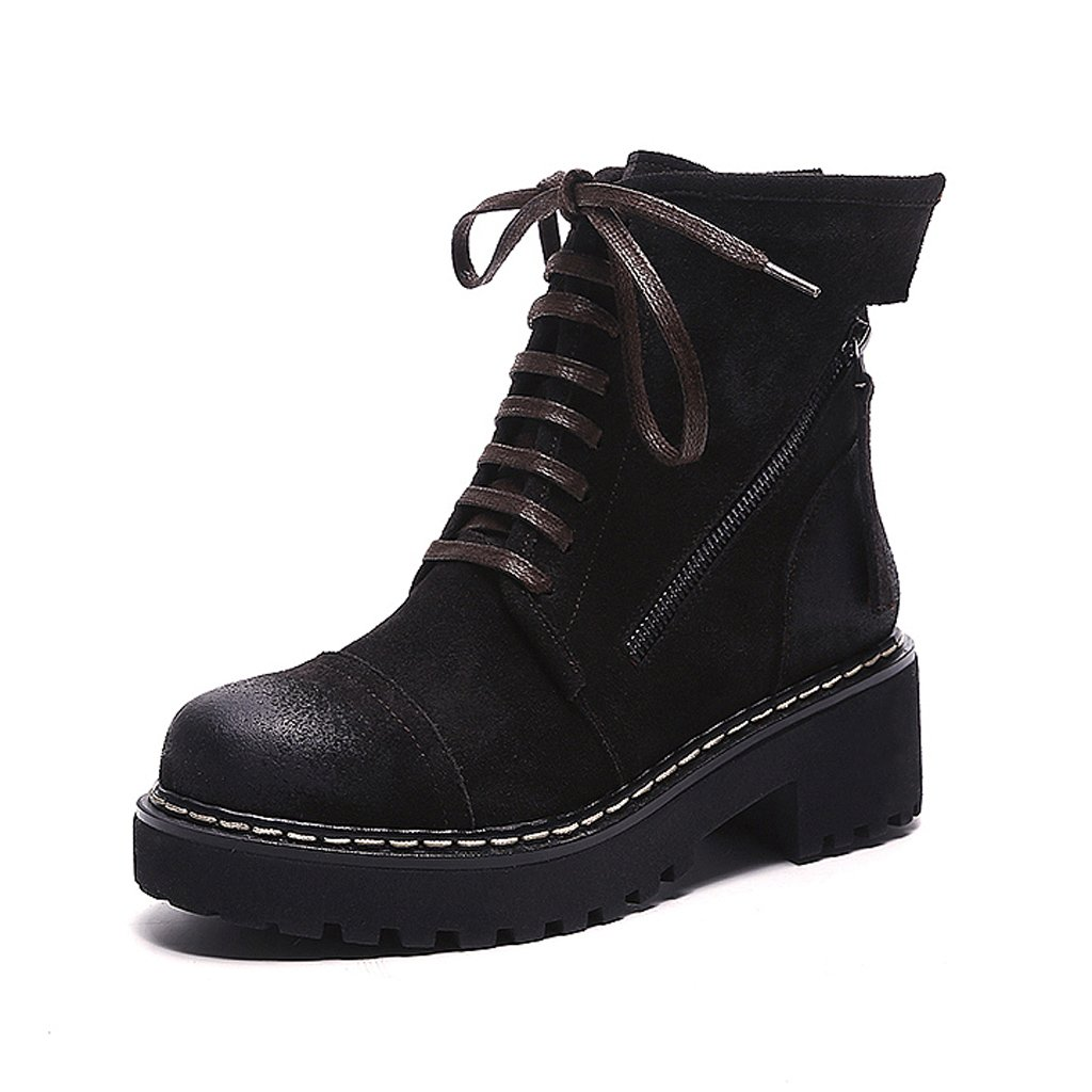 Women's Martin boots autumn and winter retro fashion personality trend shoes ( Color : Black , Size : US:6.5UK:5.5EUR:38 )
