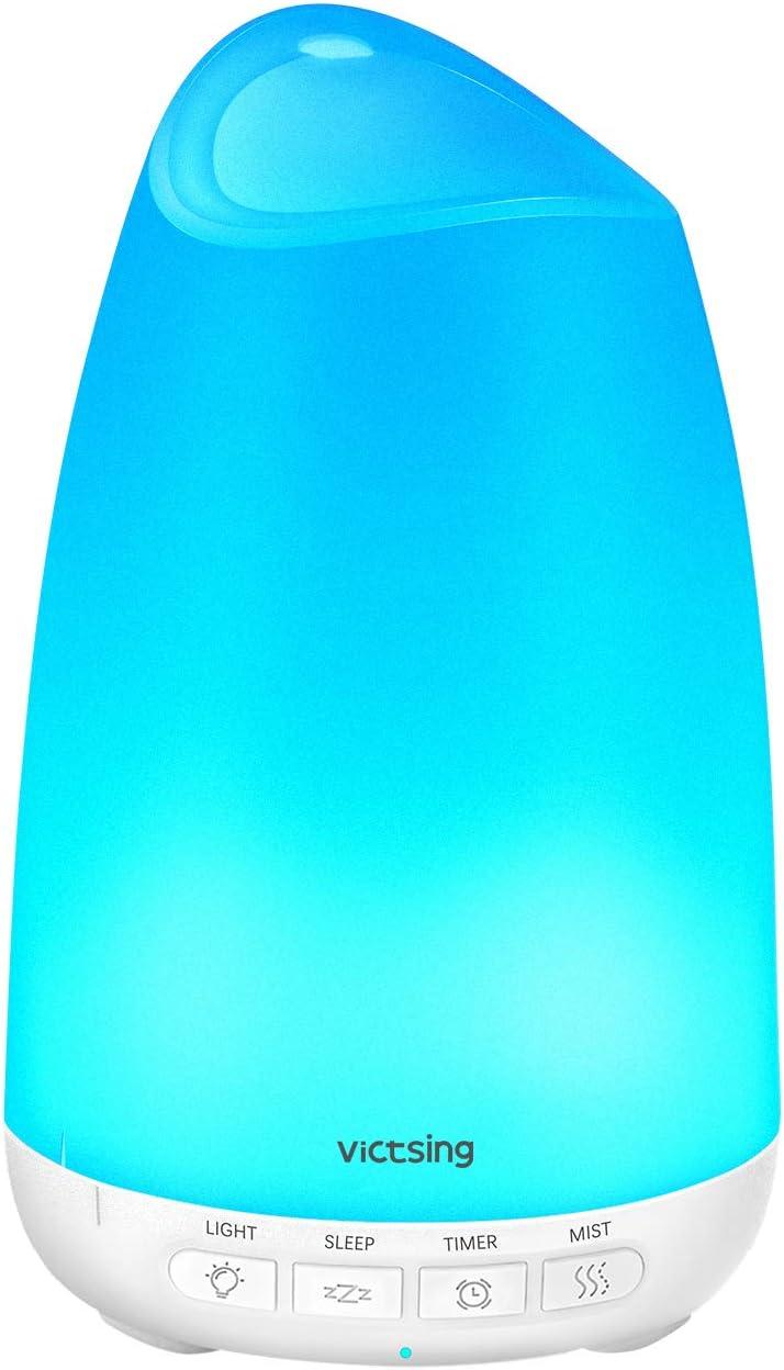 VicTsing Diffuseur d'arômes 150 ML Humidificateur Ultrasonique Diffuseur de Brume BPA, Diffuseur de Huiles à LED Humidifier Aromatherapie pour Chambre Bureau