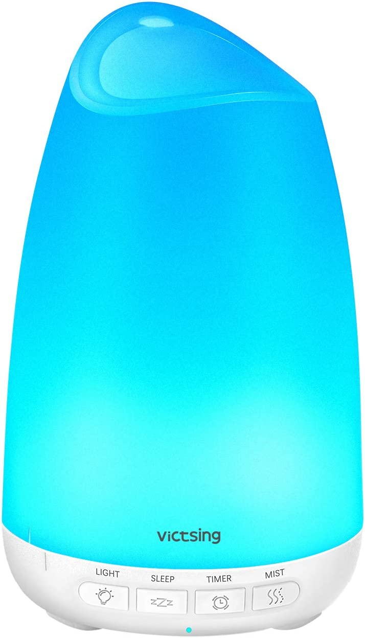 Victsing Mini Humidificador Aromaterapia,150 ML Difusor de Aceites Esenciales de Vapor Frío, 7-Color LED, Hogar, Oficina,Bebé,Dormitorio,Etc, Blanco, 150Ml, 150 milliliters
