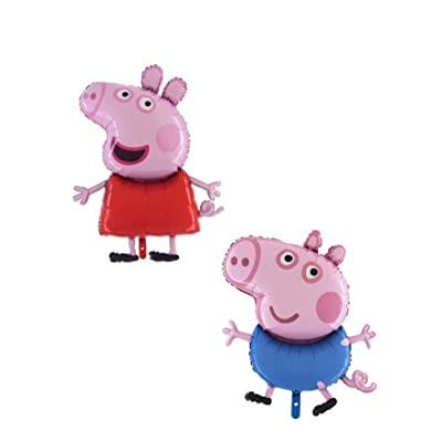 Pack of 2 - 37 Inch Giant Jumbo Size Peppa Pig & George Pig Character Foil Balloon - Party Balloons: Toys & Games