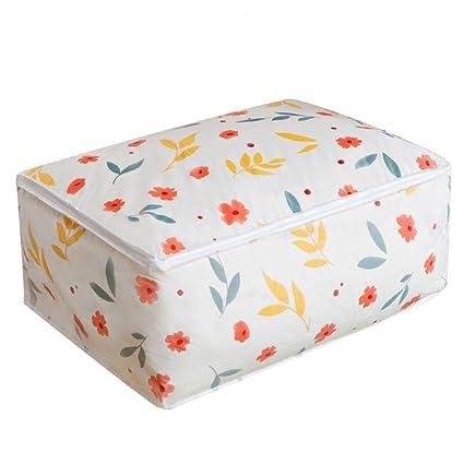 Caja de lona plegable para almacenamiento, Edredones lazo paquete de almacenamiento bolsas armario ropa bolsas de almacenamiento LMMVP (Multicolor, ...