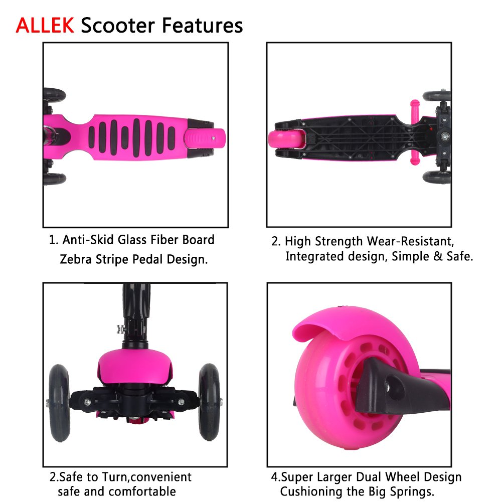 Allek Scooters for Kids, Wide Deck 3 Wheels Scooter for 3 Years and Up with T-Bar Handle 150lb Weight Limit Kick Scooter by Allek (Image #6)