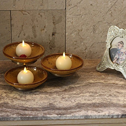 Real Wax Flameless Candles With Timer Set Of 6 Round