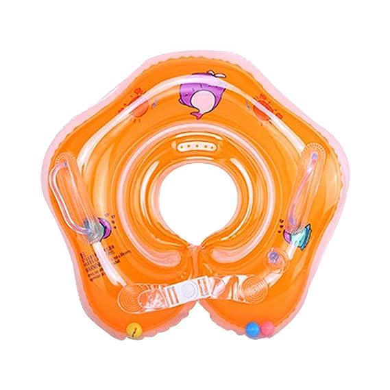 Qiao Nai Flotador Cuello Bebe Ajustable Inflable Doble Airbag Flotador Cuello para 1-18 Meses Bebé (Azul)