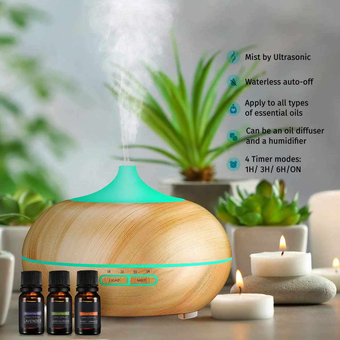 Aromatherapy Diffuser Aroma Essential Oil Diffuser 300ml Air Fragrance Ultrasonic Cool Mist Humidifier 7-Color LED Lights & 4 Timer Settings, Waterless Auto Shut-Off (Brown)