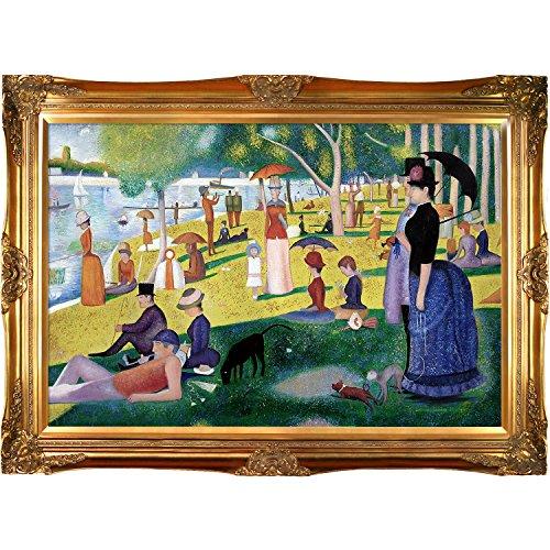 Sunday Afternoon on The Island of La Grande Jatte with Victorian Frame, Gold Finish (Georges Seurat Grande Jatte)