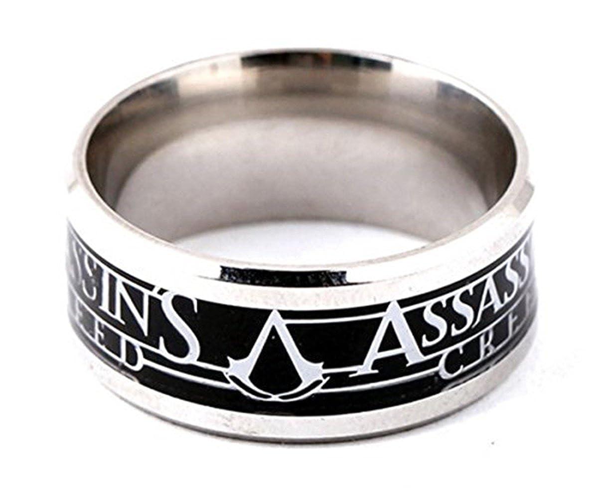 Anello Anelli Gioielli Assassin' s Creed accessori gioielli di design in argento anello in acciaio inox inossidabile gioielli (diametro interno: circa 18mm) Fashion Jewery SBHHN-029
