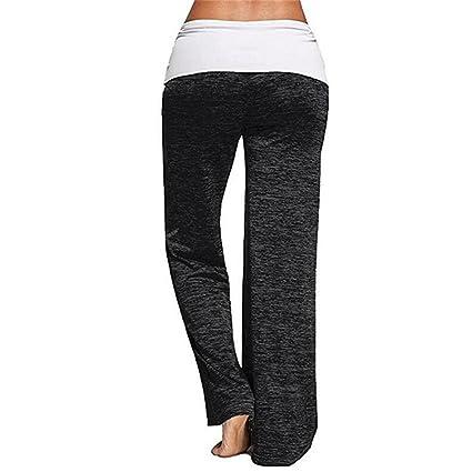 cd410fb623ee8 Fitness leggings Yoga Pants Womens Comfy Wide Leg Palazzo Pants High Waist  Foldover Casual Loose Lounge