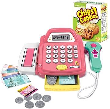 Foxom Caja Registradora de Juguete con Escáner para Niños - Juegos de Imitación (Rosado): Amazon.es: Juguetes y juegos
