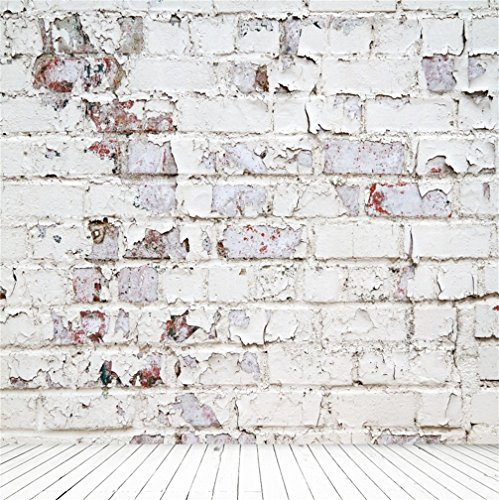 CSFOTO 5x5ft Background for White Brick Wall Mottled Paint Photography Backdrop Retro Abstract Object Wood Texture Floor Structure Photo Studio Props Children Kid Portrait Wallpaper