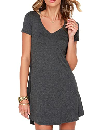 Haola Women's Summer Short Sleeve V Neck Shirt Dress Cute Pocket Loose Dress