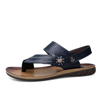 Zapatos para hombre, Zapatos de chandal de la correa de los hombres clásicos ocasionales Zapatillas de playa de cuero de imitación sandalias planas suaves ...