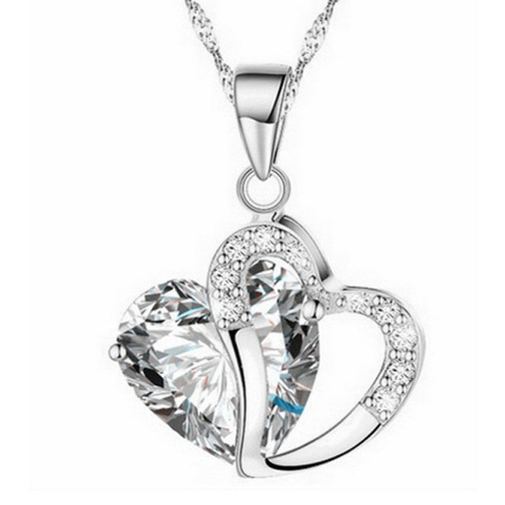 Aobiny Fashion Women Heart Full Crystal Rhinestone Silver Chain Pendant Necklace Jewelry Birthday (H)