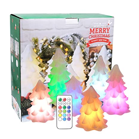 DRomance LED Lighted Christmas Trees Set of 6 White, Multi Color Changing Christmas  Tree Shaped - Amazon.com: DRomance LED Lighted Christmas Trees Set Of 6 White
