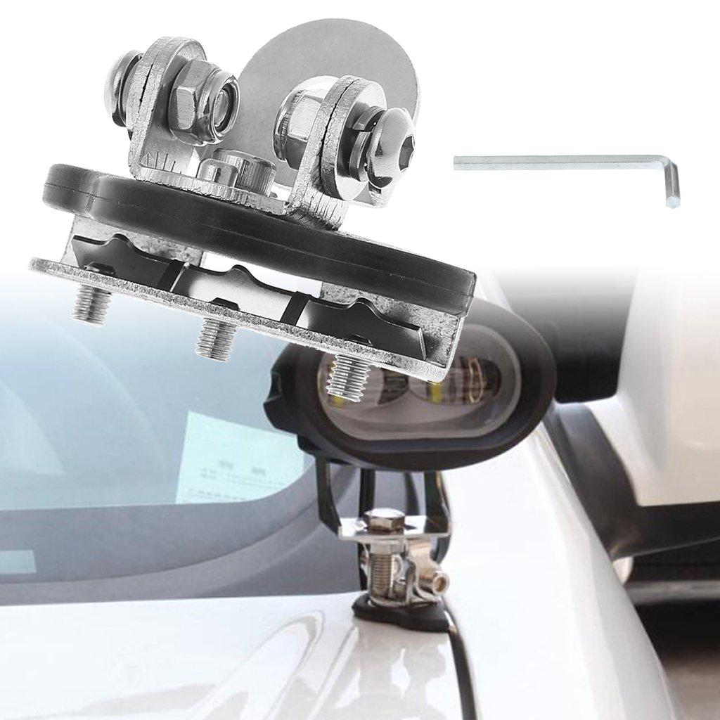 Yunso 2 Pcs Pillar Hood Clamp Holder Universal Car LED Work Light Bar Mount Bracket Offroad