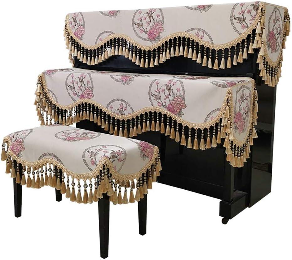 ピアノダストカバー、 ベンチカバーベージュで三ピース北欧のアップライトピアノハーフカバーラグジュアリーダストカバーエンボスジャガードピアノタオル ほこりの蓄積に対する警備員 (Color : Beige, Size : 78x38cm)