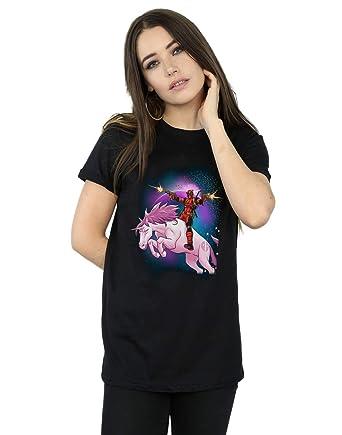 c467c7f6f Marvel Women's Deadpool Space Unicorn Boyfriend Fit T-Shirt Black Small