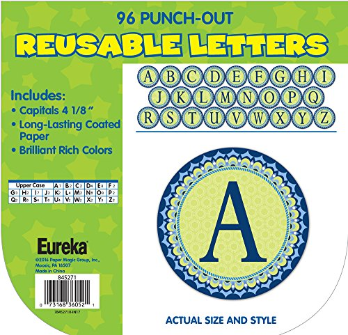 Eureka Back to School Geo Pattern Green and Blue Punch Out Letters for Classrooms, 96pc, 4'' H