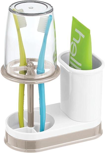 verre /à dent de qualit/é avec couvercle pour la salle de bain rangement brosse /à dents et dentifrice en plastique mDesign porte brosse /à dent avec gobelet beige//transparent
