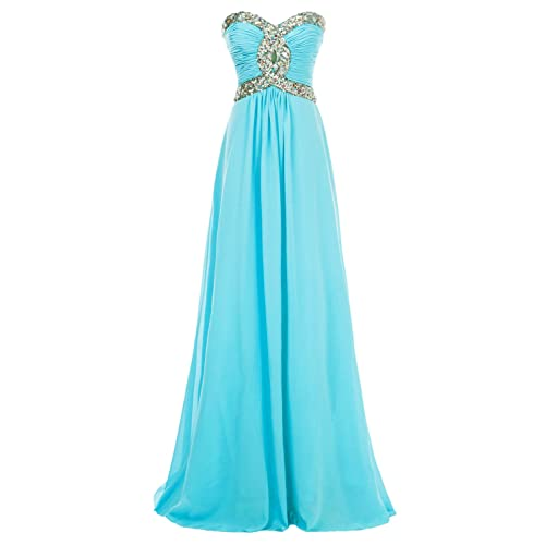 Erosebridal Long Chiffon Prom Dress Evening Gown for Women Crystal Beaded Bridesmaid Dress