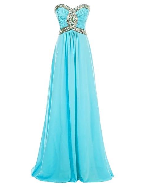 Erosebridal - Vestido largo de noche para baile o fiesta, de gasa azul claro 38