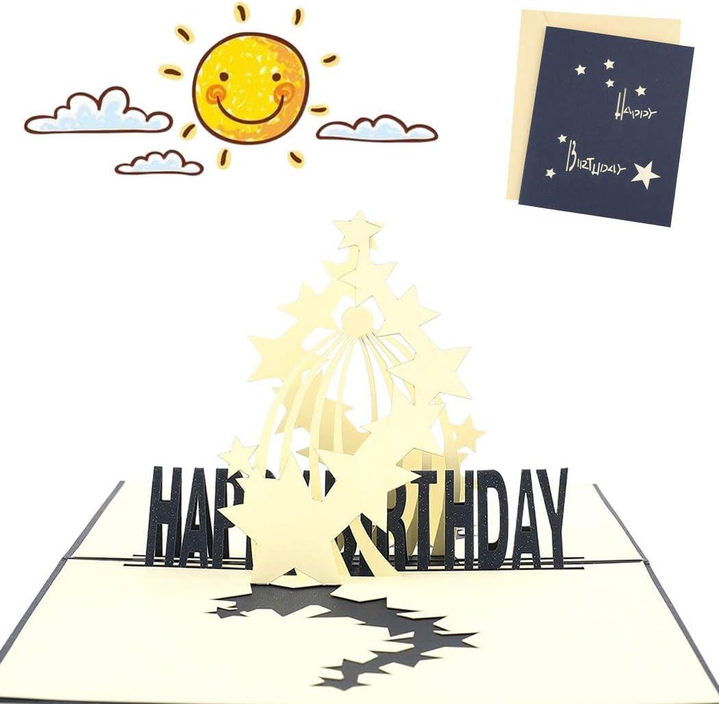 Sethexy 3D Cumplea/ños Acci/ón de gracias Tarjetas de felicitaci/ón Surgir Hecho a mano Estrella Tarjeta de regalo para Amigos Familia Hija Hijo Pareja Cumplea/ños Regalos