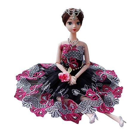 Vestido de novia de moda para muñeca Barbie (negro)