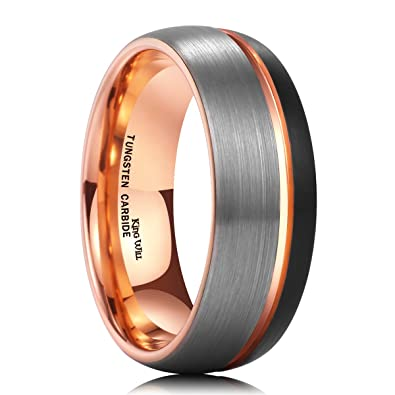 King Will Mens 8mm Black Rose Gold Plated Brushed Finish Tungsten Carbide Ring Domed Wedding Band